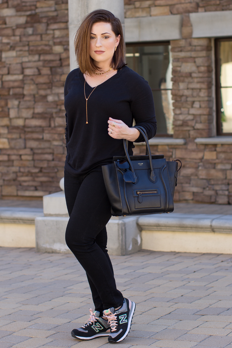 black outfit ideas, black celine tote