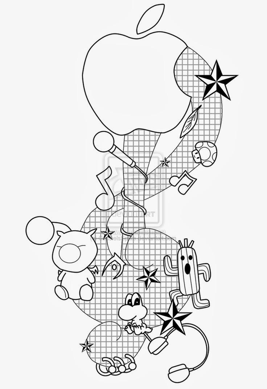Music Sol key cartoon tattoo stencil