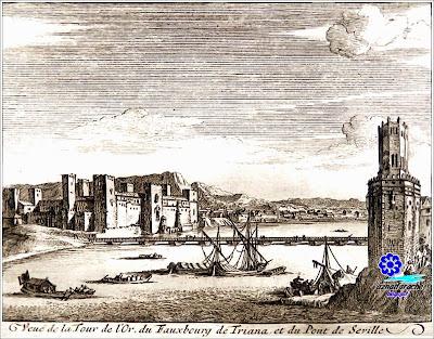 Sevilla 1707 - Vista de la Torre del Oro, Puente de barcas y Triana con el Castillo de San Jorge - Grabado de Pieter Van del Aa