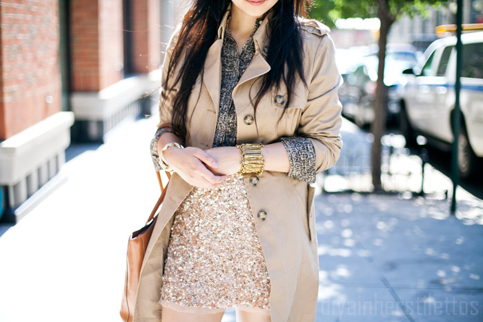 bb dakota trench coat, zara sequined beaded skirt, ann taylor reptile print button down shirt, mango nude heels, bodhi bag, new york city fashion blog, nyc street style, brooklyn, diya liu