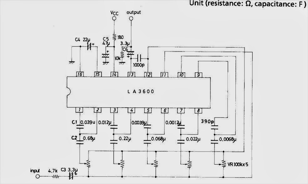 schematic  5 band graphic equaliser circuit with la3600