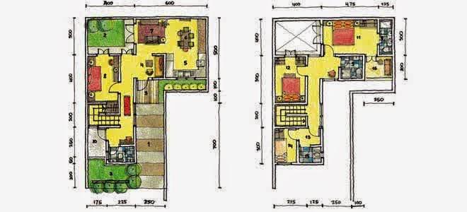desain rumah minimalis leter l