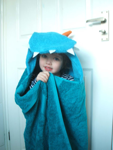 dragon themed children's party handmade hooded towel