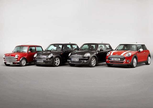 2014 Mini with all other generations of the Mini, including the original