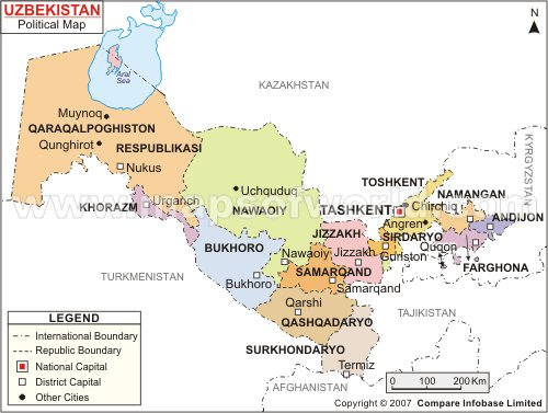 Uzbekistan Map Political Regional Maps of Asia Regional Political City