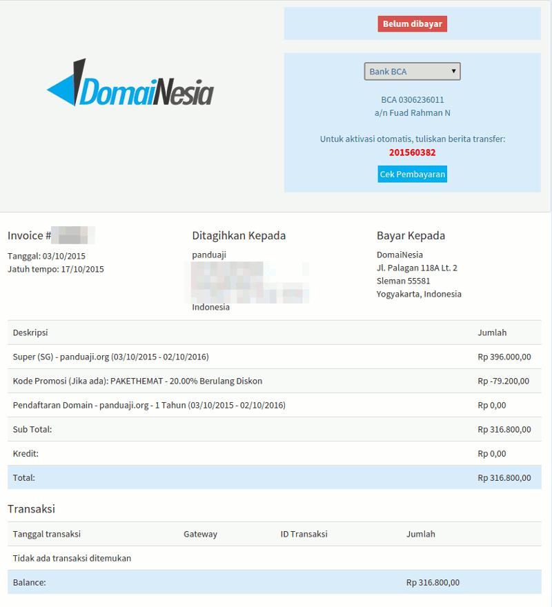 Pembayaran Hosting dan Domain