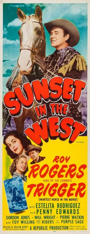 Roy Rogers Sunset In The West 1950 Film Poster