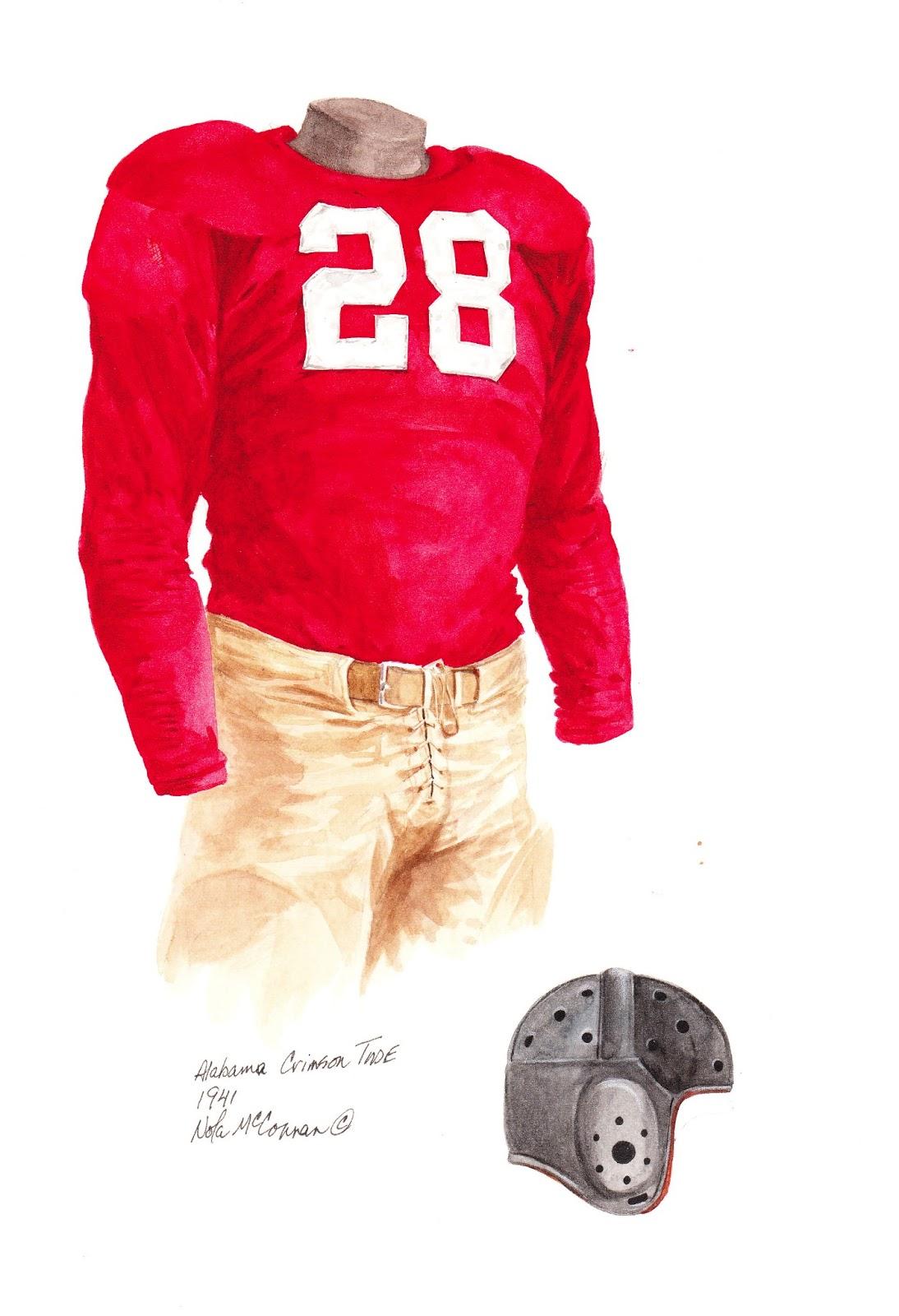 8b5f5b8ba 1941 Alabama Crimson Tide football uniform original art for sale