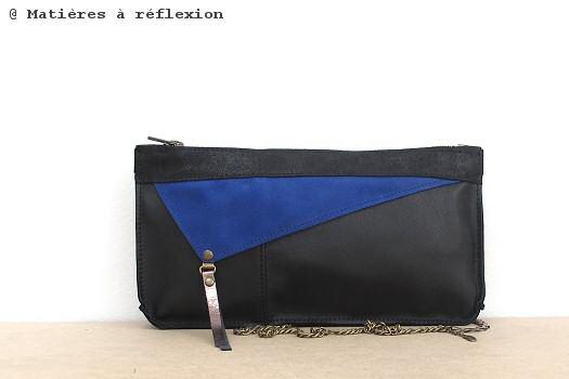 Pochette Floyd Matières à réflexion noir/bleu