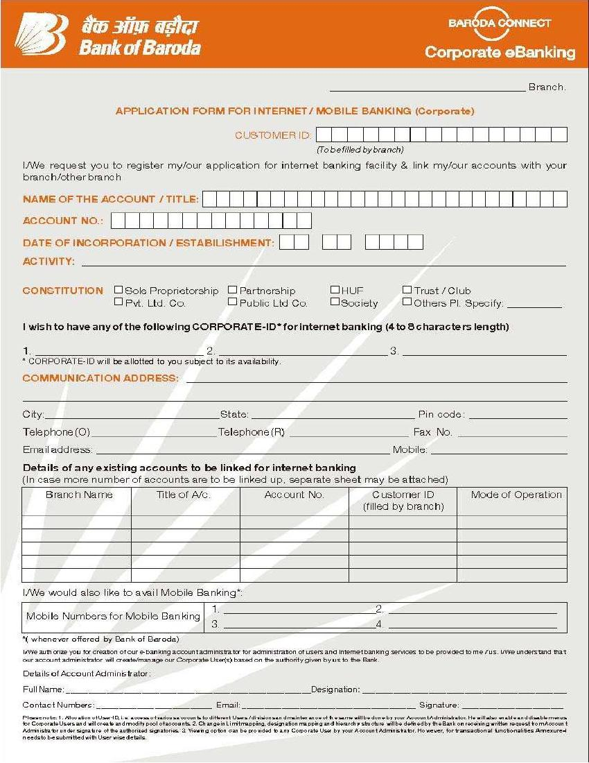 Bank Of Baroda Corporate Banking Registration