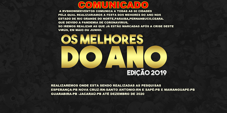 CLIK AQUI  E VOTE NOS MELHORES DO ANO DE 2019