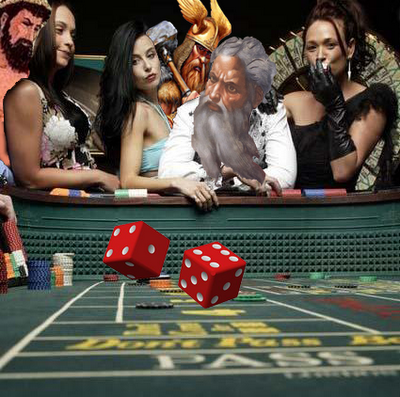 funny illustration of a round of craps being thrown by God