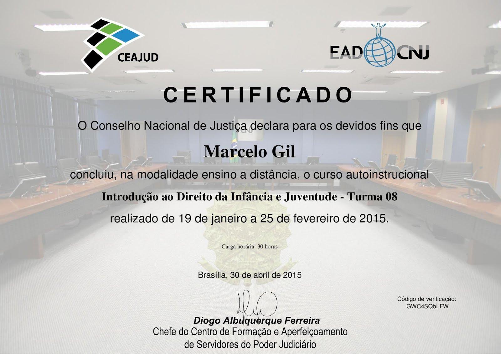 CERTIFICADO DO CONSELHO NACIONAL DE JUSTIÇA CONCEDIDO À MARCELO GIL / 2015