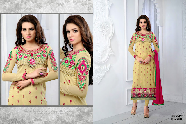 New Arrival Designer Embroidery Neck Long Salwar Kameez