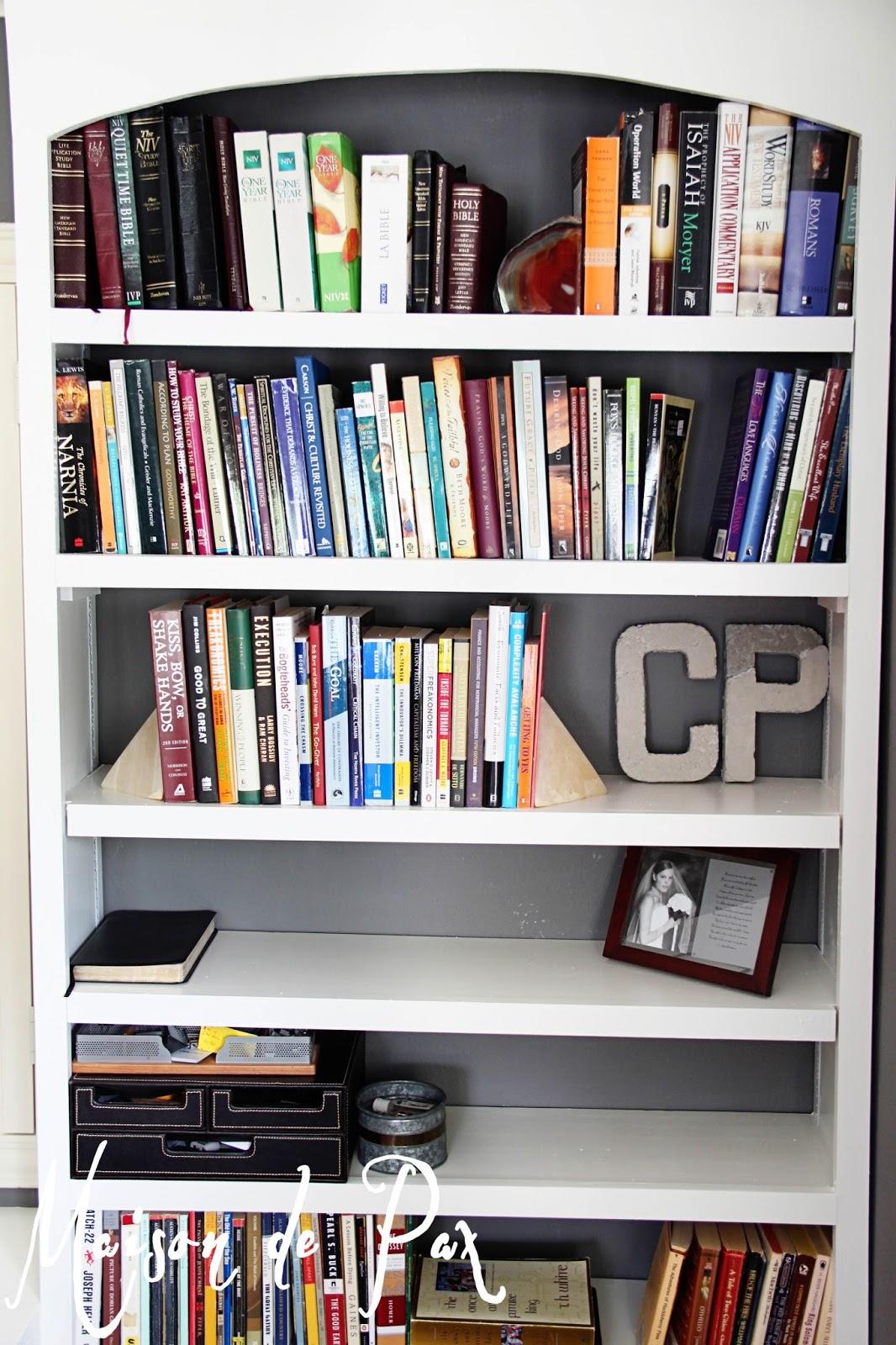 Wonderful image of DIY Built In Bookshelves Maison de Pax with #3B7990 color and 1066x1600 pixels