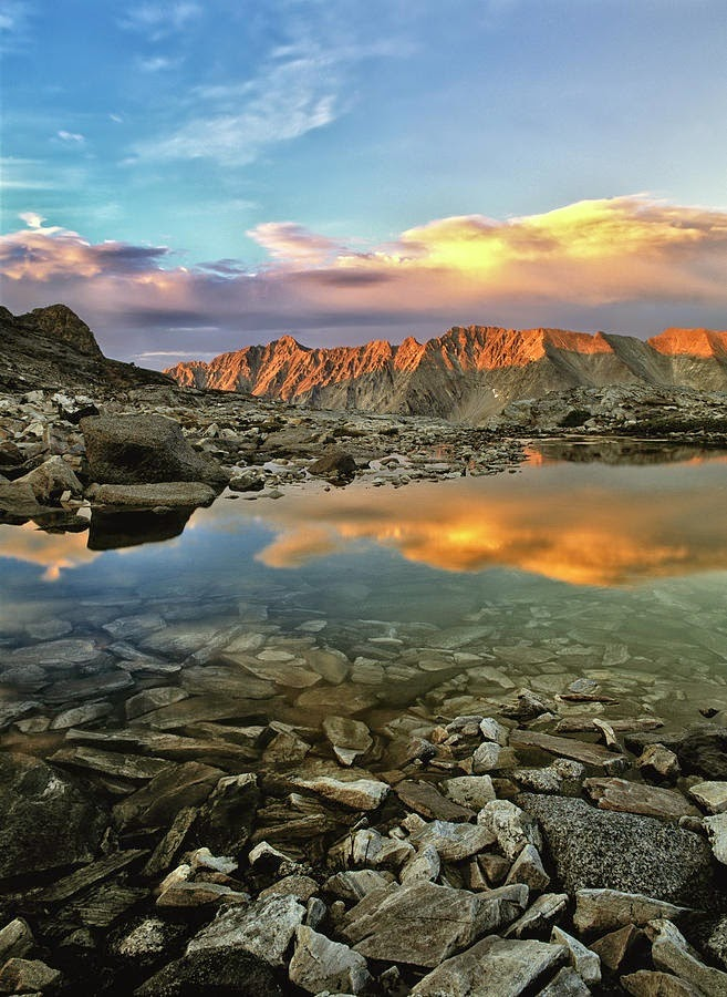 Sunset and reflection in the Pioneer Mountains