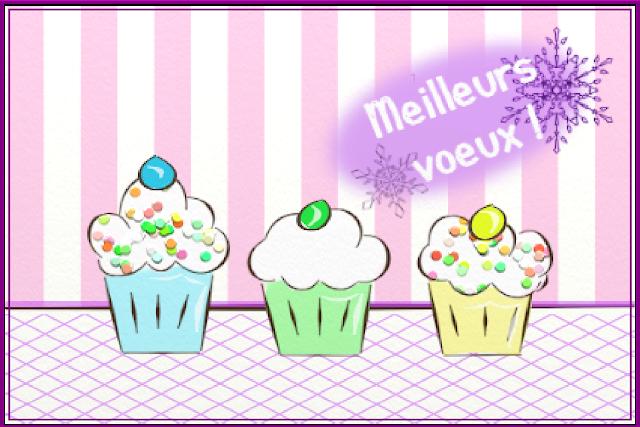 Trois petits cup cakes sur une carte de voeux vous souhaitent une bonne année 2013. Illustration de Florence Gobled, auteur de livres pour enfants et illustrateur jeunesse à Autun en Bourgogne