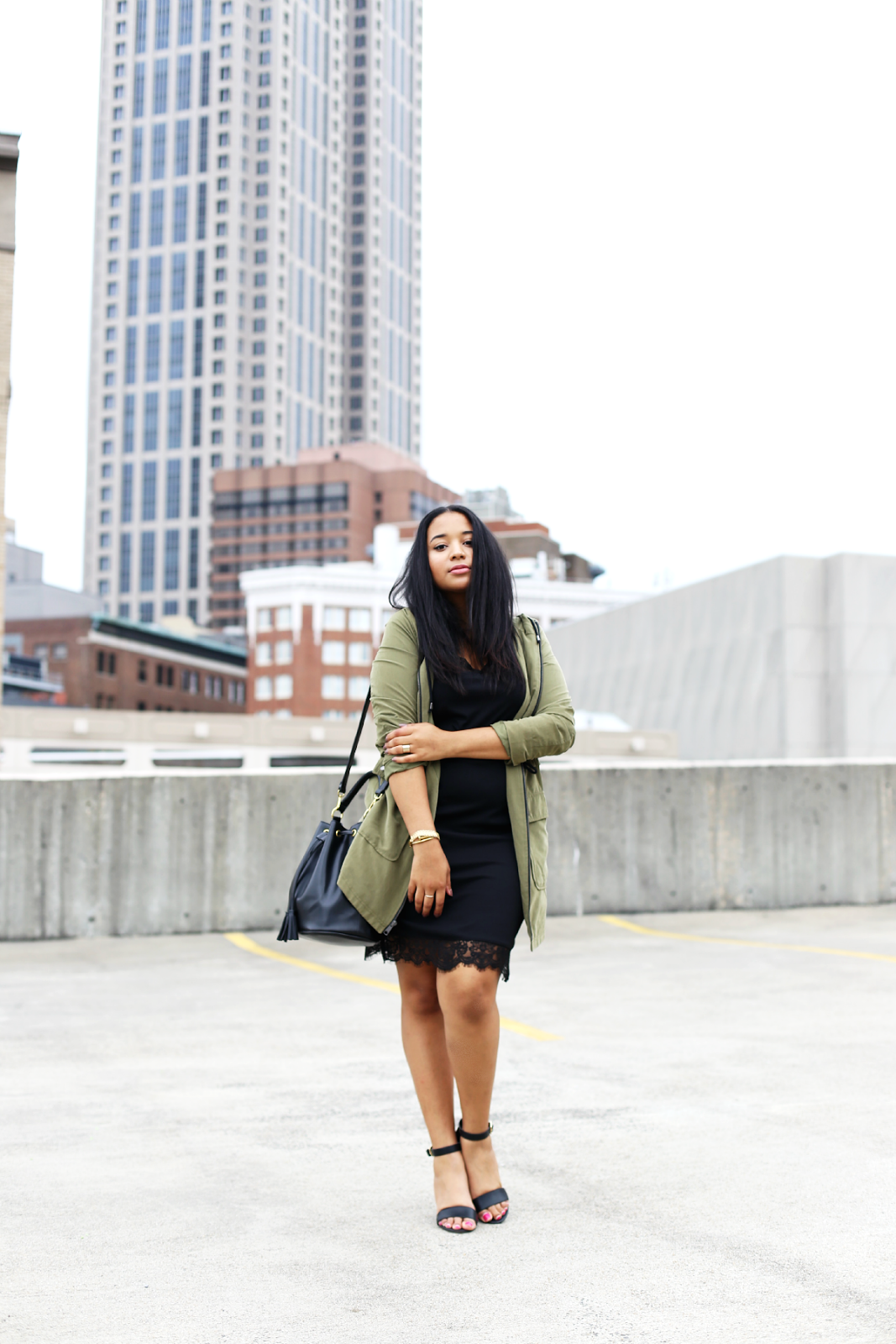 Army Jacket and Slip Dress