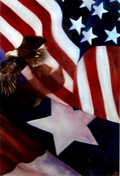 Wings of Freedom, a flying eagle soars in front of a Texas and American Flag
