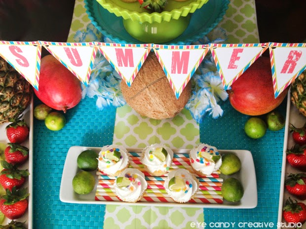 summer banner, lime cupcakes, mango, strawberries, tropical fruit, coconut