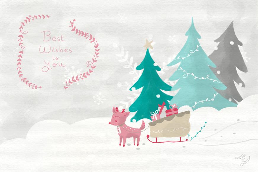 deer, rudolph, christimas, postcard, card, navidad, reno