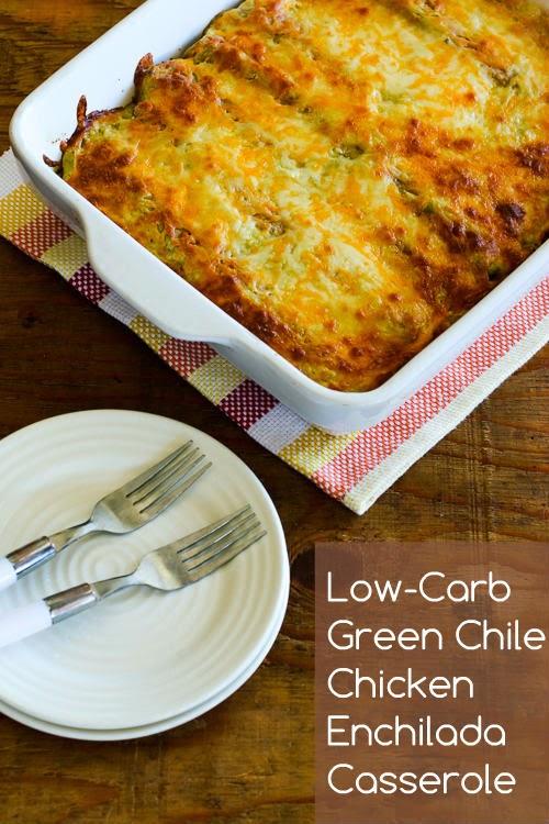 Low-Carb Green Chile Chicken Enchilada Casserole | Kalyn's Kitchen®