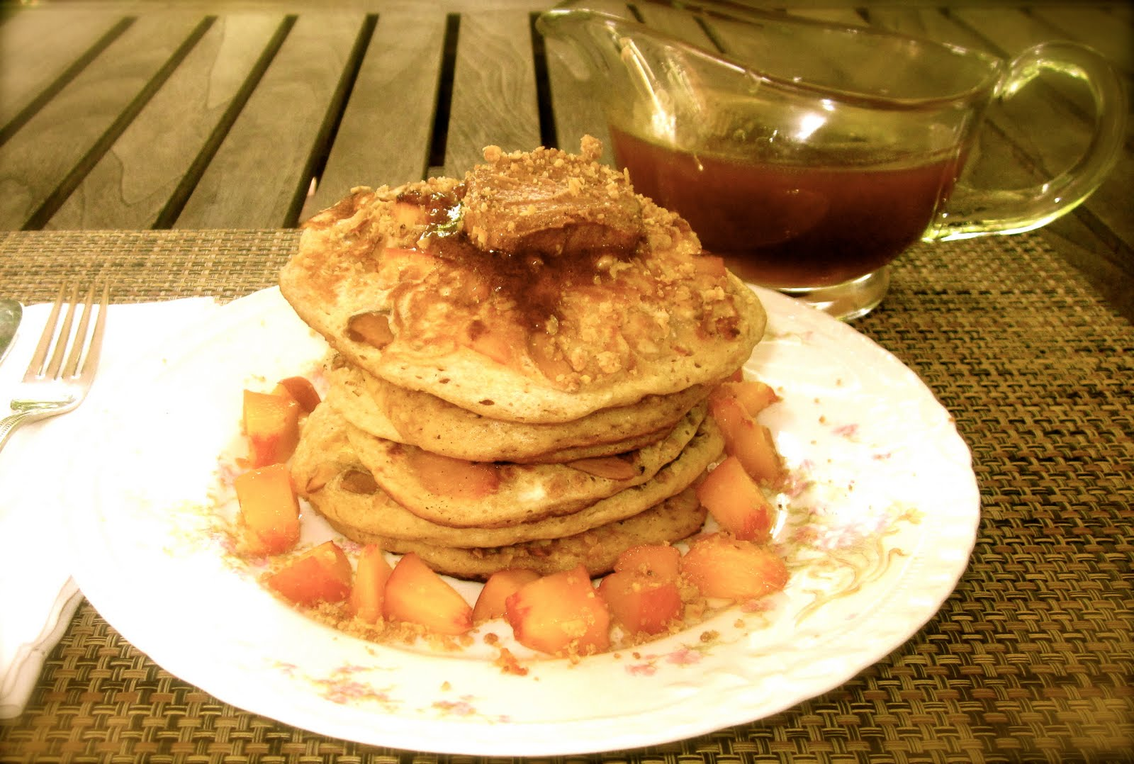 Pretty Little Peach Pancakes