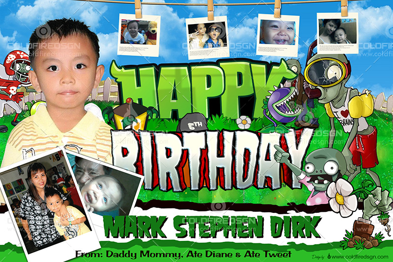 Free Plants Vs Zombies Birthday PSD Template
