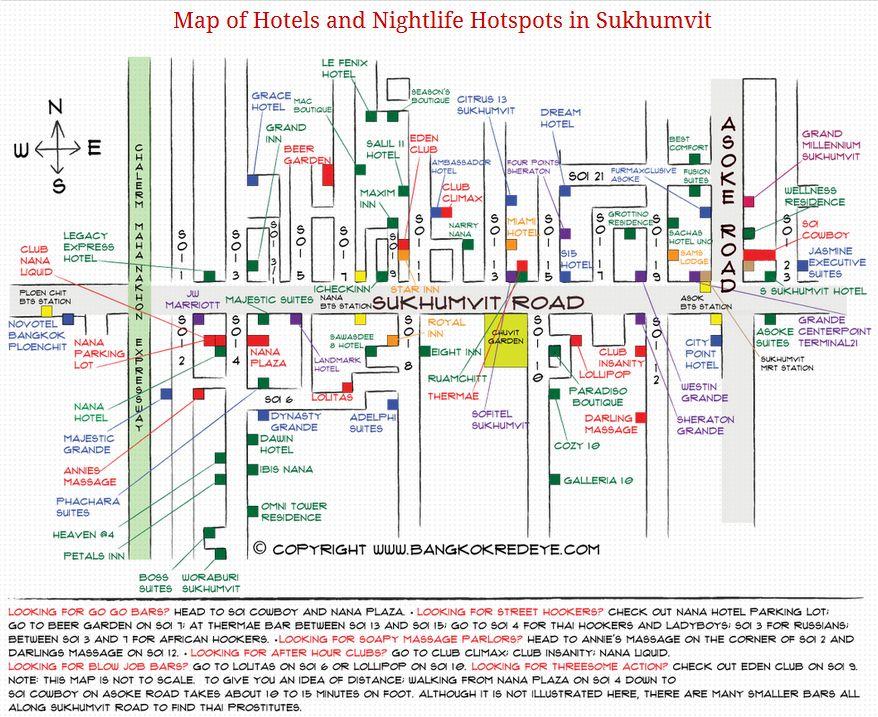 My New Updated Hotel And Nightlife Map For Sukhumvit Bangkok