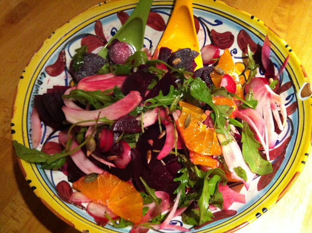 Fennel, radish, beetroot, orange and rocket salad