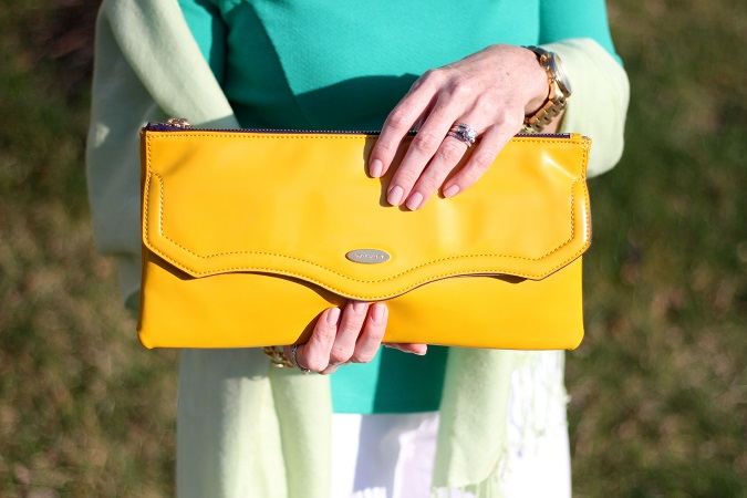 Ann Taylor, Jbrand, Nordstrom, Nine West, Tahari, Prada, Yuni Kelley designs, Michael Kors, LosPhoto, Simply Lulu Style, emerald green, yellow clutch, floral pumps,
