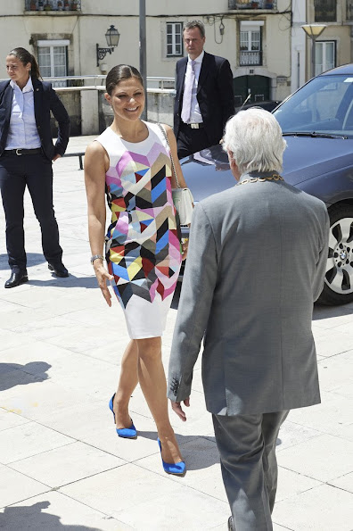 Crown Princess Victoria of Sweden visits the 'Academia Das Ciencias' during the first day of her visit two day visit to Lisbon