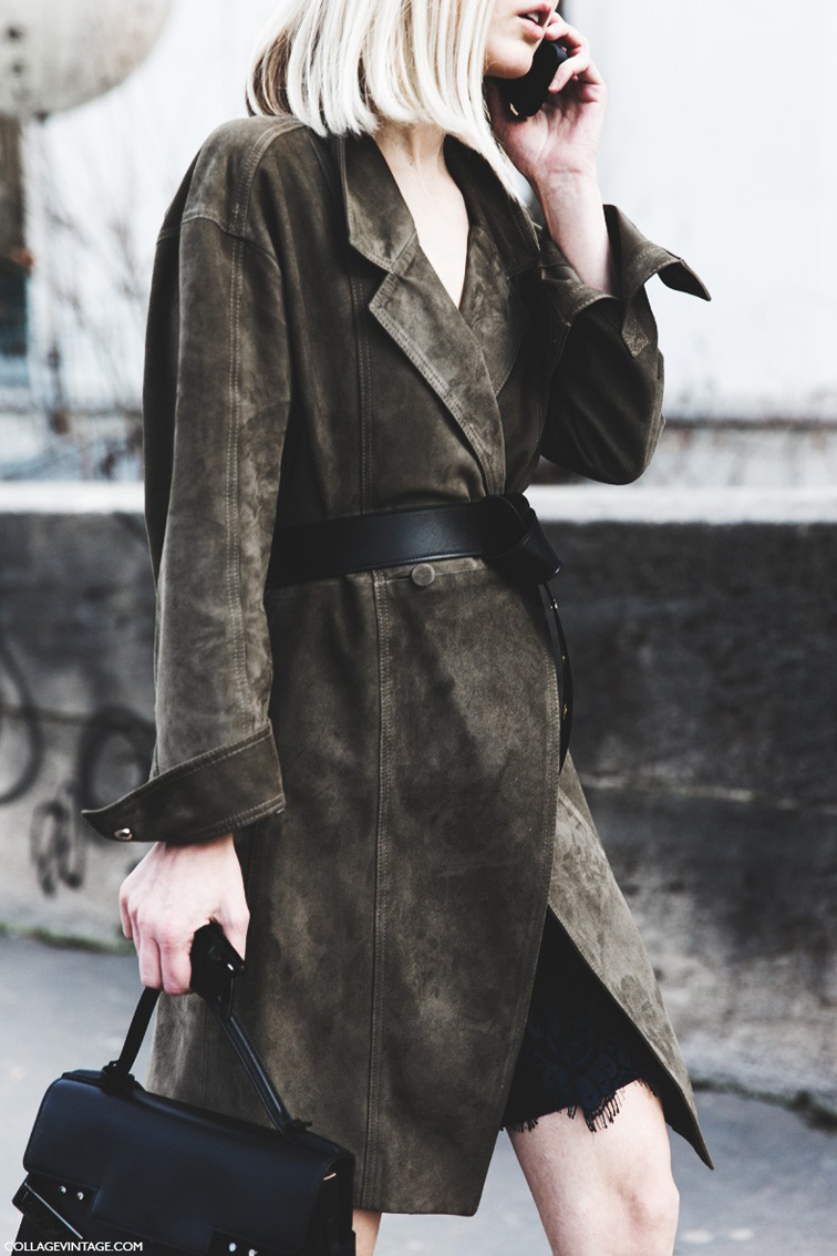 Paris fashion week street style, suede trench coat