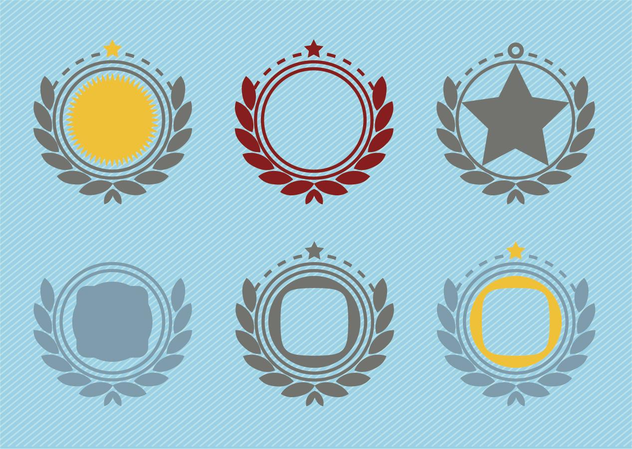 エンブレム バッジの縁飾り Retro Emblem Badge Decorations イラスト素材