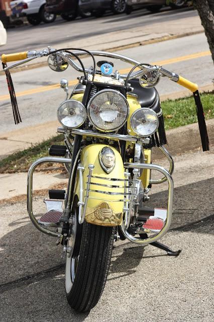 classic yellow motorcycle