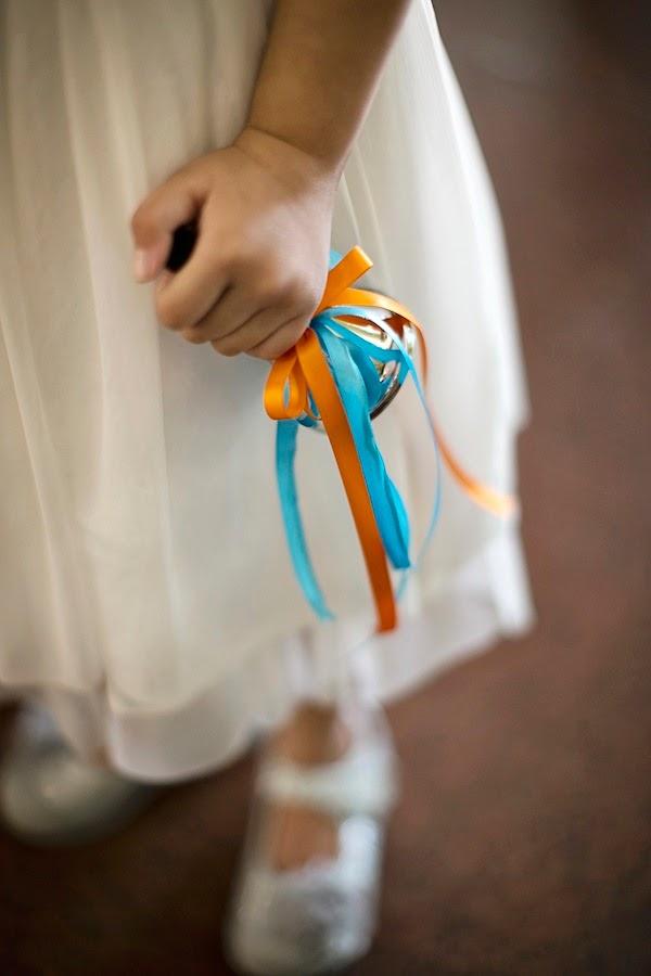 flower girl bell Church Wedding blue red orange