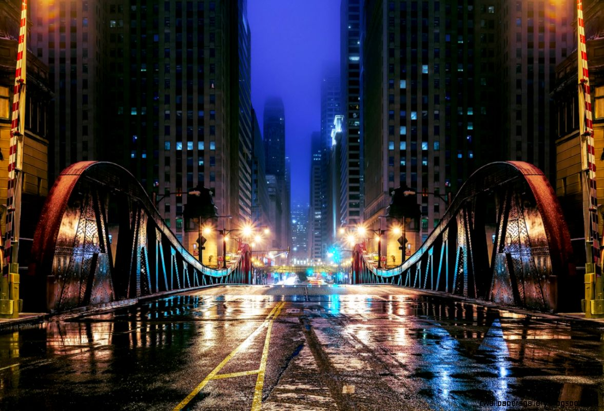 Wallpapers USA Bridges Roads Illinois Chicago city Street Night