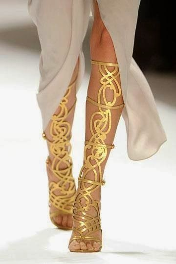 Golden womens shoes
