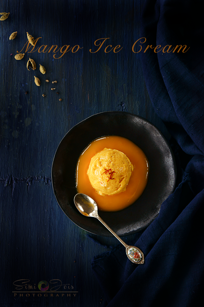 Ice cream without ice cream maker, Mango ice cream, homemade mango ice cream, recipe