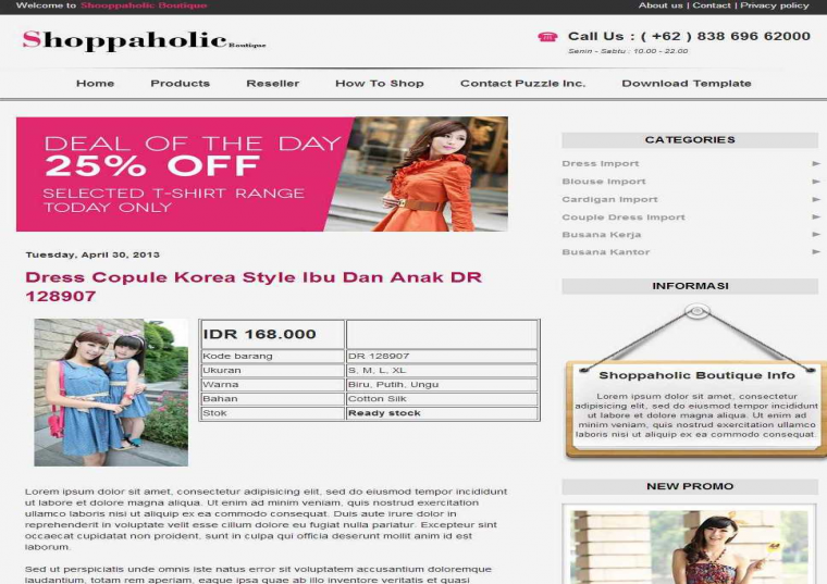 Shopaholic Boutique Responsive e-shopping Blogger Template Free Download