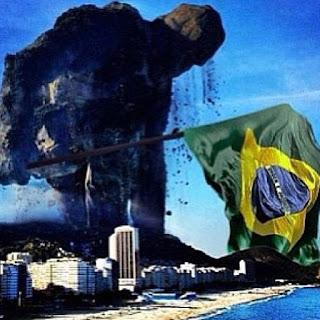 Imagem de um gigante de pedra se levantando do meio das montanhas no Rio de Janeiro com a bandeira do Brasil em mãos