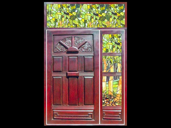 Kerala style wooden main door glass painted side window for Kerala window design photos
