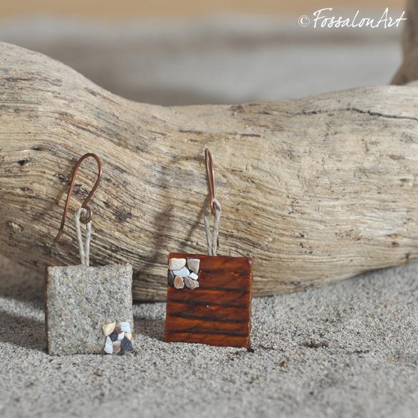 Orecchini in corda, sabbia e gommalacca. Decorati con frammenti di conchiglie