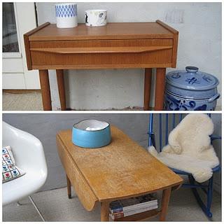 Teak natbord og sofabord i eg begge står nu i vores udestue