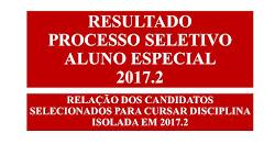 RESULTADO PROCESSO SELETIVO ALUNO ESPECIAL