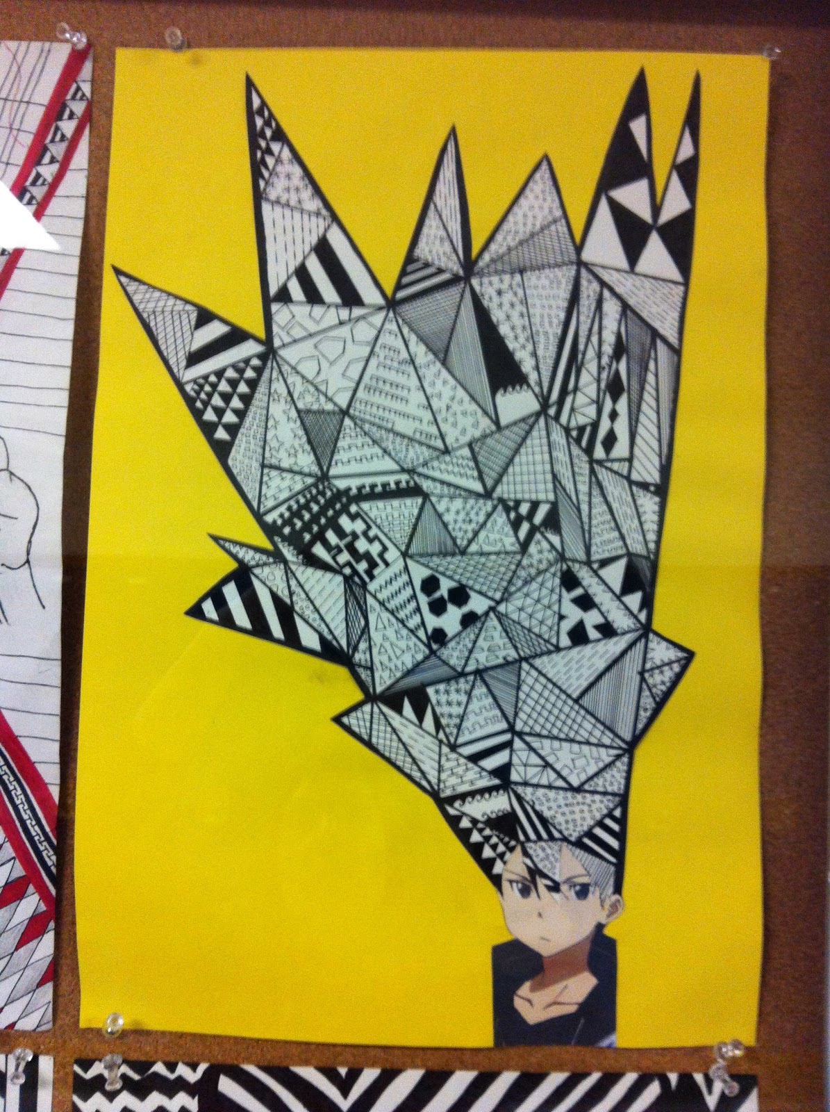 Line Art Projects Middle School : Project art a day lesson bad hair line and shape