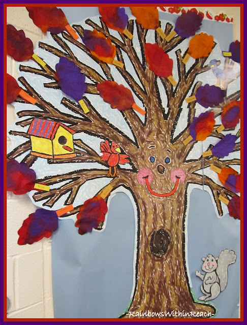 photo of: Fall Bulletin Board of Trees with Colorful Painted Leaves on Coffee Filters (Fall RoundUP via RainbowsWithinReach)
