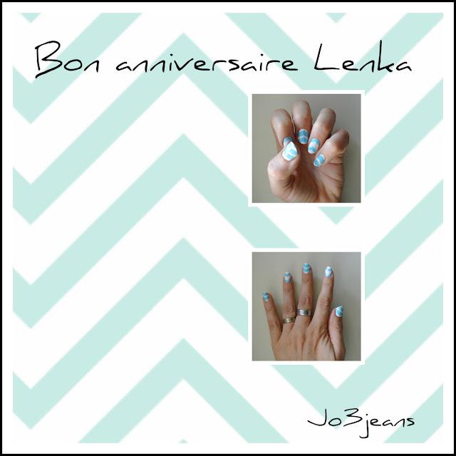 nail art, inspiration, Pshiiit, anniversaire Lenka, bird of paradise, nail art paon, paon, bleus,