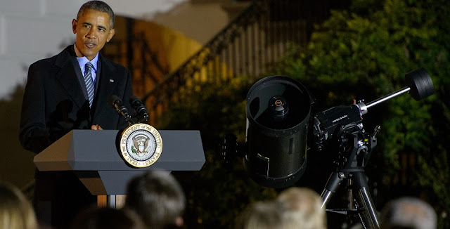 President Barack Obama delivers remarks during the second White House Astronomy Night on Monday, Oct. 19, 2015. The second White House Astronomy Night brought together students, teachers, scientists, and NASA astronauts for a night of stargazing and space-related educational activities to promote the importance of science, technology, engineering, and math (STEM) education. Photo Credit: (NASA/Joel Kowsky)