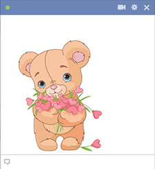 Teddy with hearts emoticon